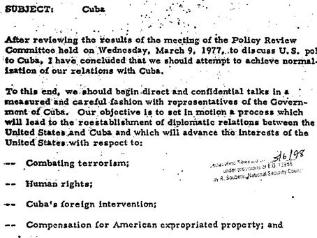 Carter concluye que es hora de arreglar las cosas con Cuba. Documento desclasificado en 1998.