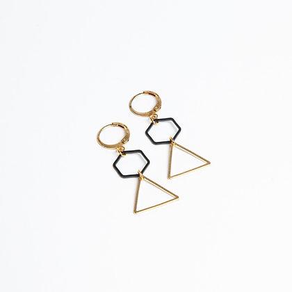 """Ohrhänger oder Kette """"6 to 3"""" in schwarz-gold"""