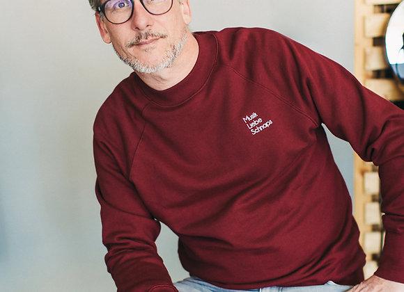 """Sweatshirt """"Musik Liebe Schnaps"""" in Grün oder Bordeaux"""