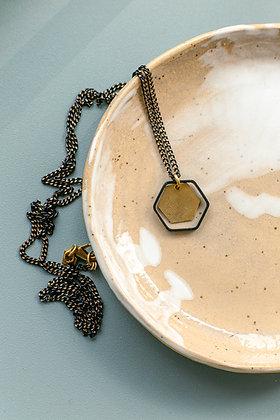 """Halskette """"2Hexagon"""" in schwarz-gold"""
