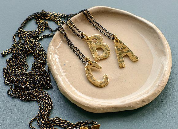 """Halskette """"ABC"""" aus Messing, handgemacht"""