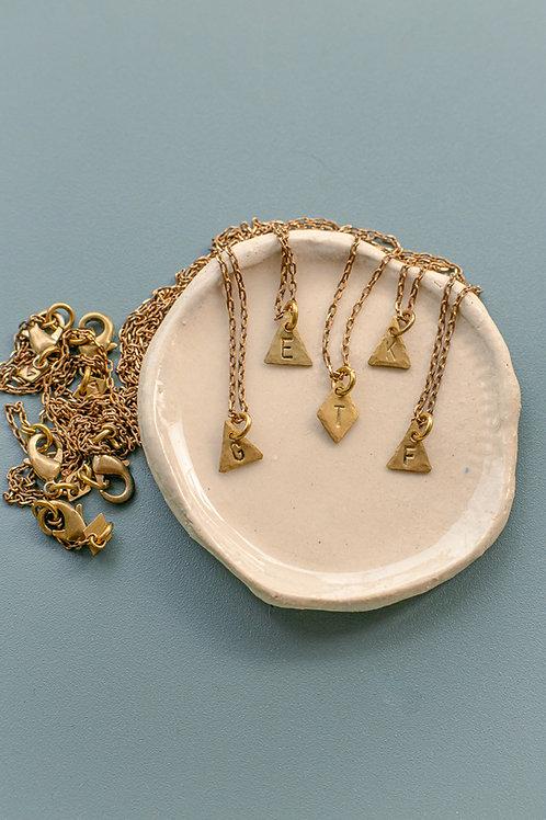 """Halskette """"Mini Letter"""" aus Messing, handgemacht"""