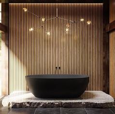 Интерьер санузла с отдельно стоящей ванной