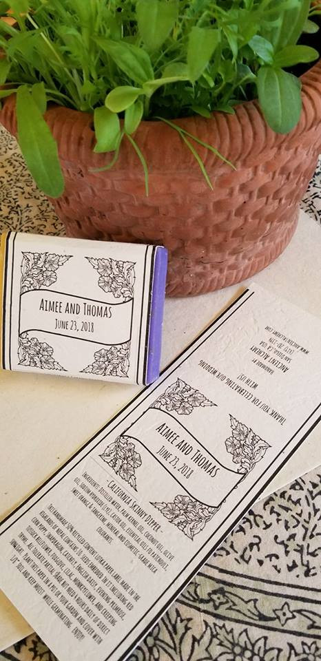 Seed-embedded handmade paper soap labels