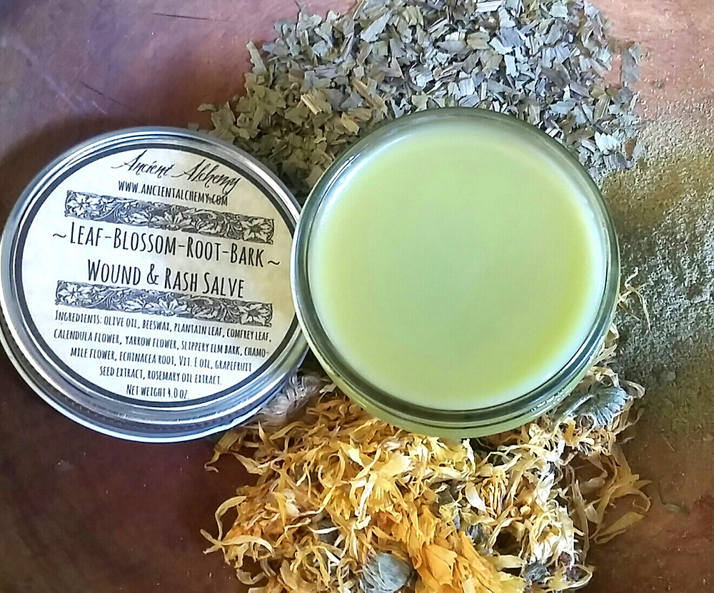 Leaf-Blossom-Root-Bark Wound & Rash Salve  -- Ancient Alchemy
