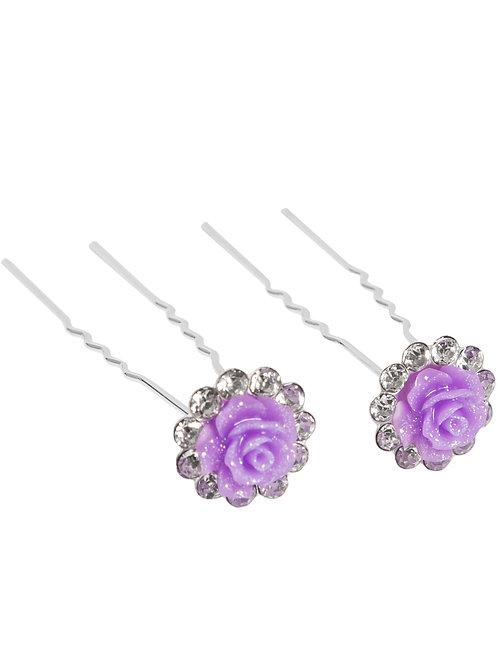 Glitter Flower & Rhinestone Hairpin