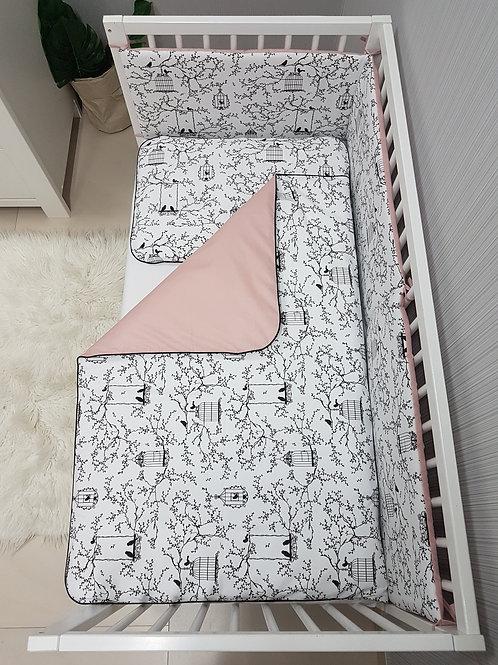 Bisal Bettwäsche Set 100x135cm & 40 x 60cm Vögel schwarz/rosa