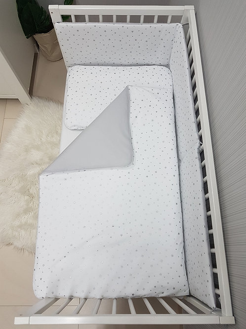Bisal Bettwäsche Set 100x135cm & 40 x 60cm Sterne silber