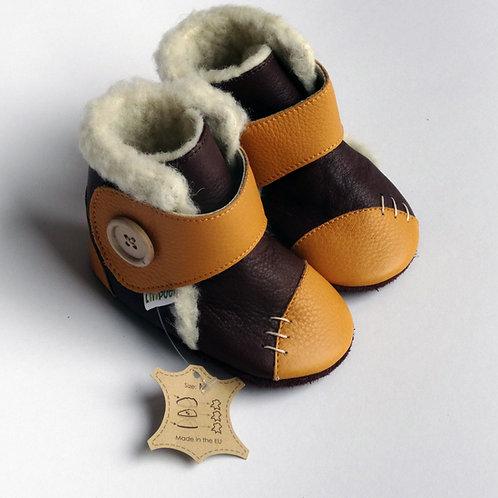 Liliputi Leder Woolfutter Boots Snowflake Mustard