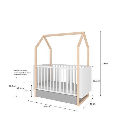 Bisal Kinderbett mit Schublade Pinette 70x140cm