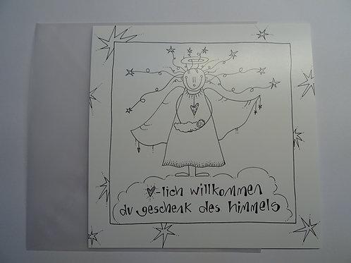 Faltkarte Leben-dig herzlich willkommen du geschenk des himmels