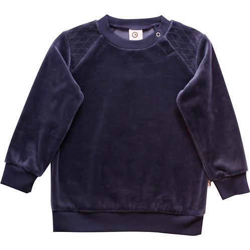 Green Cotton Müsli Samt Pullover Midnight