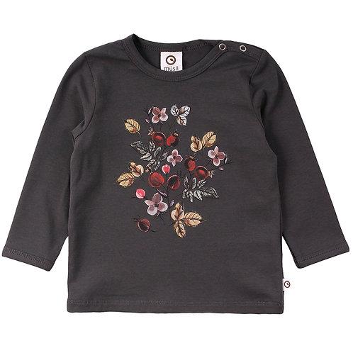Green Cotton Müsli Baby Winter Flower Shirt Iron