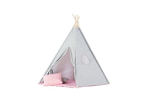 WigiWama Tipi Zelt Rosa/Grau kleine Sterne