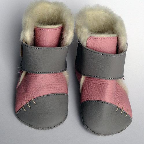 Liliputi Leder Woolfutter Boots Snowflake Pink/Pearl