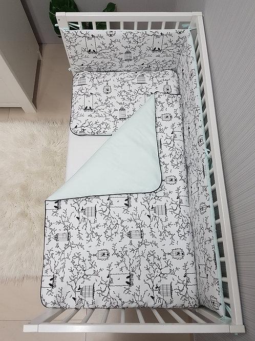 Bisal Bettwäsche Set 100x135cm & 40 x 60cm Vögel schwarz/mint