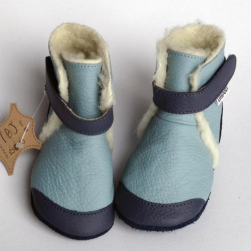 Liliputi Leder Woolfutter Boots Eskimo Blue