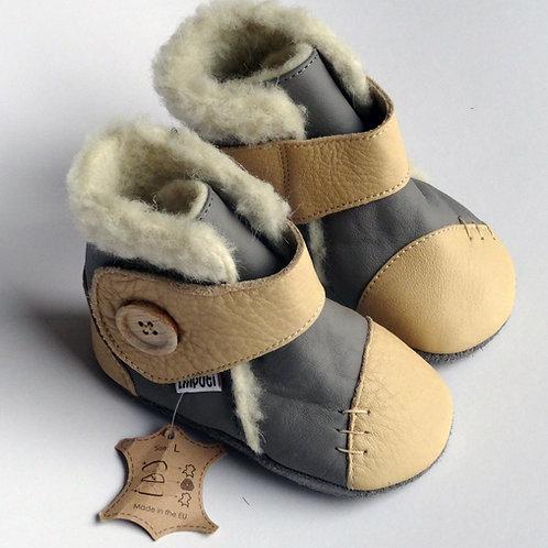 Liliputi Leder Woolfutter Boots Snowflake Grey Dusk