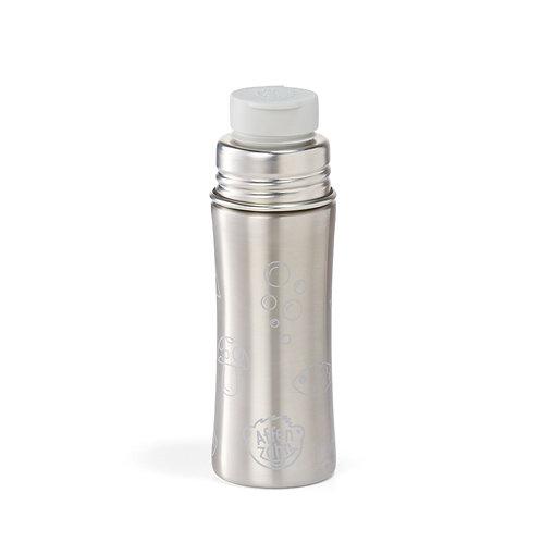 Affenzahn Edelstahl- Trinkflasche mit Big Mouth- Silikonverschluss grau