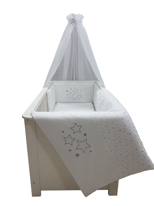 Umbaubett Komplettset Sterne silber