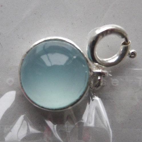Charmanhänger( Federring) Aqua Chalcedon Cab 12mm Silber 925