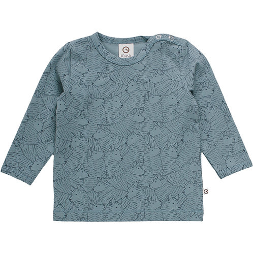 Green Cotton Müsli Wolf Shirt Lagoon Green