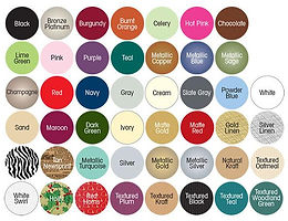 color chart of apparel boxes