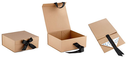 foldable kraft gift boxes with ribbon closure