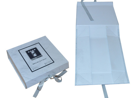 Gift Box Mart Wholesale Custom Made Foldable Boxes With Printed Logo And Ribbon Closure