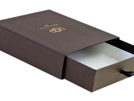 Custom Made Drawer Boxes With Printed Logo And Ribbon Pull