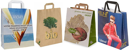 flat handle kraft bags with full color prining