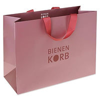ribbon handle luxury shopping bags with printed logo