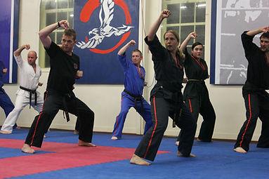Taekwondo class at Black Belt Academy