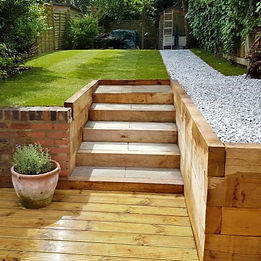 Softwood Timber Decking with Oak Sleeper Steps & Oak Sleeper Retaining Wall