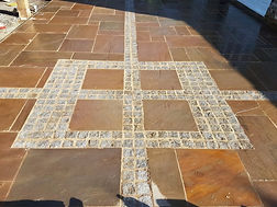 Indian sandstone paving with granite setts