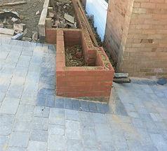 Tegula Block Driveway, Raised Brickwork Plant Beds