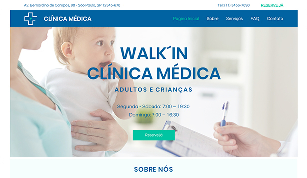 Saúde website templates – Clínicas Walk'in