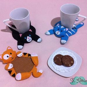 Porta-copo de gatinho para o jogo de chá (molde gratuito - Baker Ross)