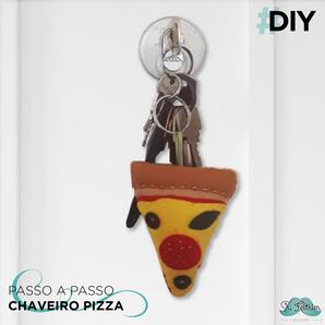 DIY: aprenda a fazer um chaveiro de pizza. Molde gratuito!