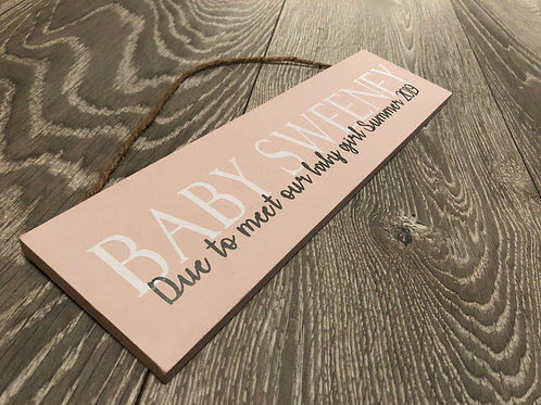 Coming Soon Baby Personalised Sign