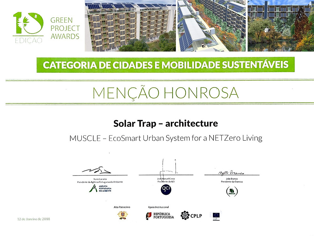 We are proud to announce that our MUSCLE, a systemic approach to NZEB Urban Regeneration, received an Honourable Mention in the 10th Edition of the Green Project Awards