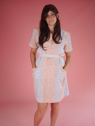 80's floral stripe dress