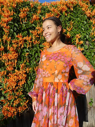 60's spring sunset frock