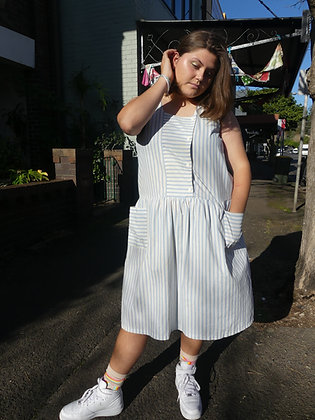 80's drop waist sailor dress