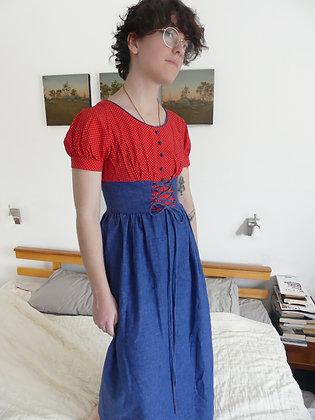70's polka dot prairie dress