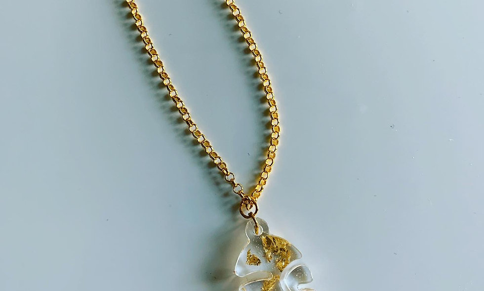 Gold Flaked Face Necklace