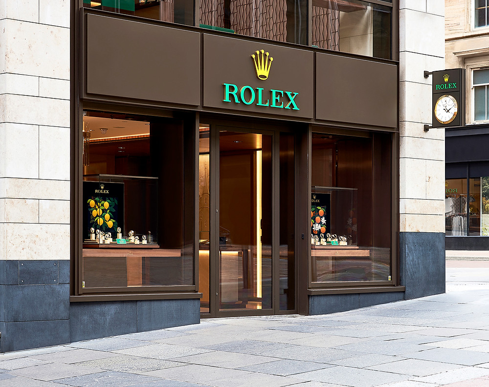 Photograph of the Rolex store in Glasgow from an angle