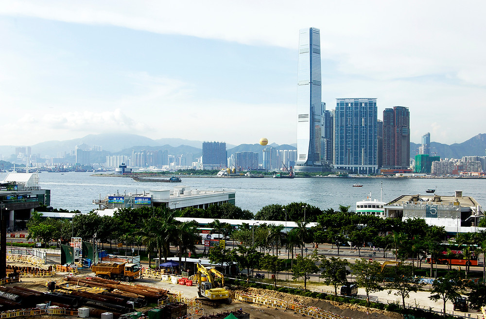 A view of Hong Kong's Kowloon district from Central, shot in 2011 with the Central/Wan Chai bypass under construction