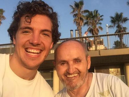 Positive Man on the Beach of Barcelona