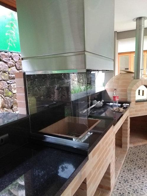 Churrasqueira alvenaria com coifa box